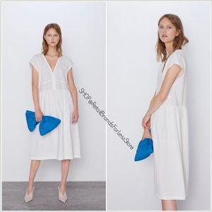 ZARA WHITE V NECK CONTRASTING DRESS